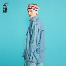 初语 牛仔风衣女中长款韩版休闲双排扣薄款外套潮8830635005a