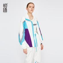 初语短外套女装春秋装2018新款宽松撞色拼接运动休闲薄款风衣8831402023