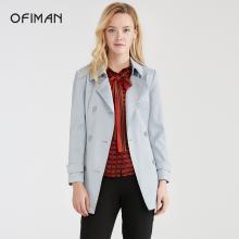 Ofiman奧菲曼2018秋新款風衣女雙排扣長袖純色中長款通勤西裝外套A2-W7432-3H