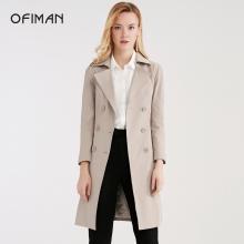 Ofiman奧菲曼2018秋冬新款雙排扣西裝領風衣外套女純色長袖中長款A2-W7041-3T