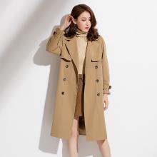 姝奕2018秋季新款品牌女裝經典英倫雙排扣中長款女式風衣西裝領外套女QBZ88330