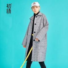 初语风衣大衣女中长款2018秋新款韩版宽松流行格子格纹毛呢外套8831214004