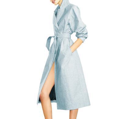 tobebery欧洲站气质女装2019新款秋装收腰修身中长款风衣女外套过膝欧货