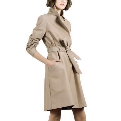 tobebery2019秋冬新款卡其色英伦女士修身风衣外套女中长款
