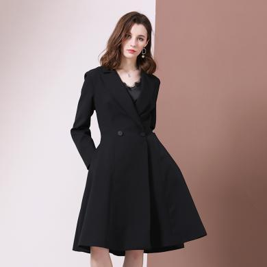 法米姿 秋装新款高端女装外套欧美大牌时尚大气双排扣风衣女中长款风衣外套 79307