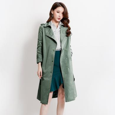 熤笙靘 秋季新款欧洲站女装英伦纯色单排扣系带直筒外套中长款风衣女