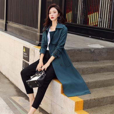 澜囝囡 秋季新款修身纯色系带外套中长款翻领过膝百搭英伦OL风衣女装    978