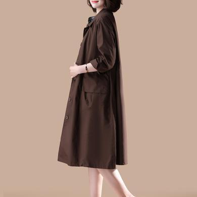 OUBOGJ 新款薄款寬松純棉外套中長款小個子長袖長款風衣女過膝秋裝29C08989