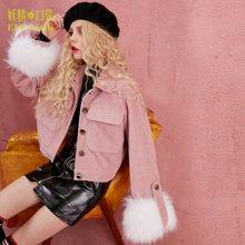 妖精的口袋冬装chic保暖上衣外套毛毛袖显瘦棉衣棉服短款女-