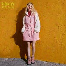 妖精的口袋 我拍少女 秋季长款宽松带帽拼色棉服