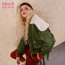 妖精的口袋冬装外套羊羔毛拼接系带街头装饰显瘦直筒棉服短款女