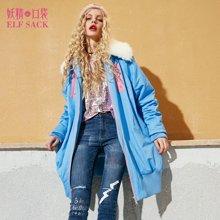 妖精的口袋 字面意思 秋季长款宽松毛领棉服