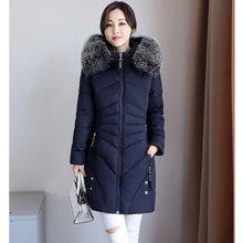 亿族 冬季新款韩版修身大码棉服大毛领中长款妈妈装羽绒棉衣外套