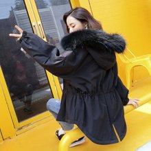 冬季棉服女bf2018新款韩版宽松原宿风学生潮百搭收腰中长毛领外套