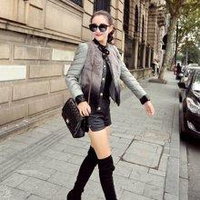 轩品媛  pu棉衣女短款韩版修身冬季新款羽绒棉服加厚外套  21001552