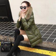 轩品媛  冬季pu皮棉衣女中长款2017新款韩版修身加厚毛领羽绒棉服棉袄外套  2100Y616