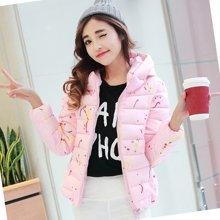 亿族 新款韩版修身时尚个性彩绘短款立领连帽羽绒棉服外套