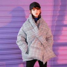 新品 七格格 面包服女短款蓬蓬学生蝙蝠袖冬季2018新款韩版宽松格子棉服