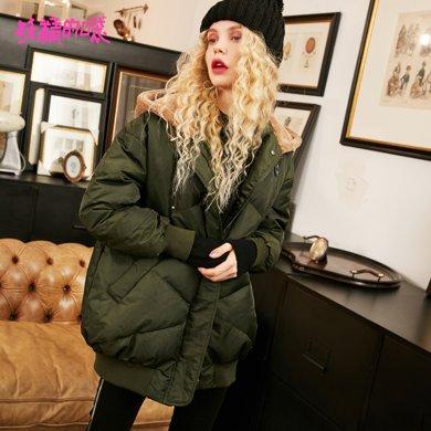 妖精的口袋Y舒适棉服冬装2018新款中长款保暖长袖气质拉链棉衣女R