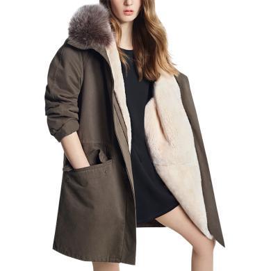 tobebery棉衣女2018新款中長款棕色保暖外套簡約毛領保暖棉服加絨
