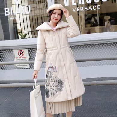 绮娑 棉服女冬季新款绣花民族风中长款面包服宽松休闲棉衣外套