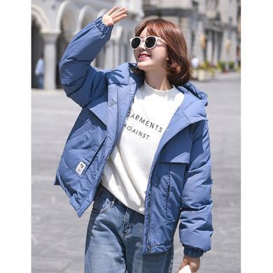 綺娑 加厚面包服女冬季新款韓版個性連帽寬松顯瘦不規則工裝棉服外套