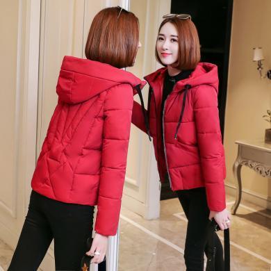 億族 短款棉衣外套女冬季新款個性連帽寬松加大棉服純色百搭面包服