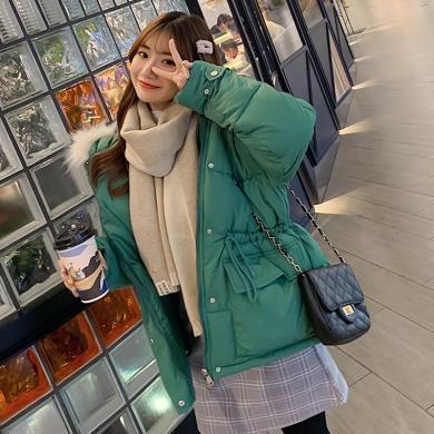 綺娑 棉服女冬季新款個性連帽大毛領棉衣寬松抽繩系帶時尚大口袋外套