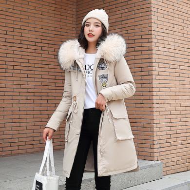 绮娑 大毛领棉服女冬季新款韩版中长款宽松收腰派克棉衣外套