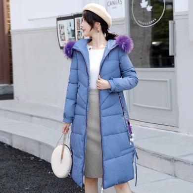 绮娑 棉衣外套女冬季新款韩版时尚保暖棉服中长款连帽毛领面包服