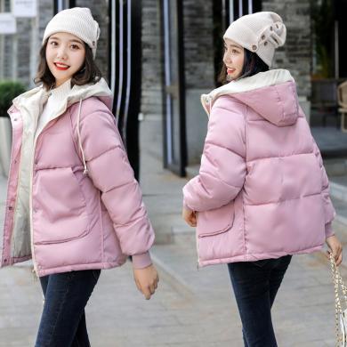 亿族 短款棉服女冬季新款韩版个性连帽宽?#19978;允?#26825;衣外套大口袋面包服