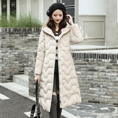 绮娑 棉衣女冬季新款韩版时尚过膝长款外套显瘦百搭?#21487;?#26825;服