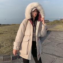 meyou 工装棉服冬季新款女装时尚大毛领?#23665;?#33136;大口袋棉衣连帽外套潮