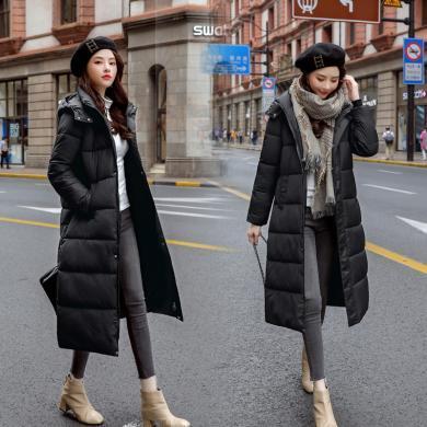 綺娑 棉服女冬季新款韓版個性連帽寬松顯瘦中長款棉衣過膝bf風外套潮