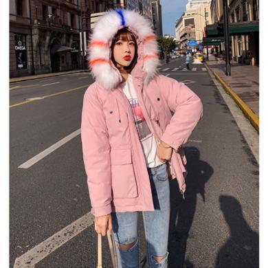 綺娑 冬季新款棉服女時尚大毛領個性大口袋寬松顯瘦棉衣外套韓版面包服