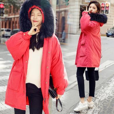 meyou 工裝棉服女冬季新款個性連帽大毛領寬松顯瘦大口袋chic中長款外套