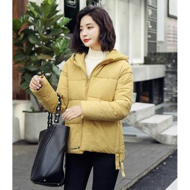 億族 冬季新款韓版個性連帽純色百搭棉衣時尚不規則短款棉服外套女