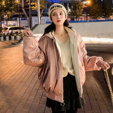 綺娑 棒球服棉服女冬季新款個性連帽寬松顯瘦短款棉衣ins風兩面穿外套