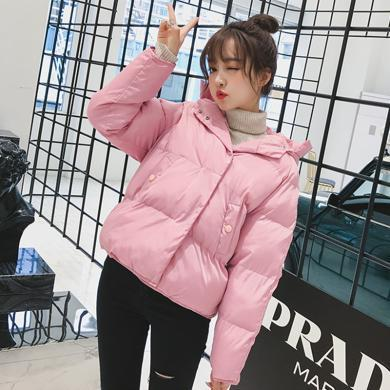 綺娑 冬季新款女裝個性連帽寬松顯瘦棉服加厚保暖短款棉衣外套潮