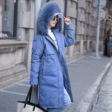meyou 中長款棉服女冬季新款時尚大毛領收腰顯瘦加厚保暖連帽棉衣外套