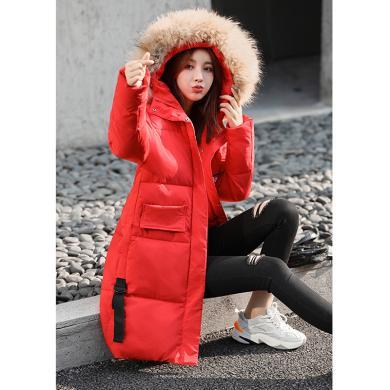 meyou 工裝棉服冬季新款女裝時尚大毛領個性連帽外套中長款刺繡bf風棉衣