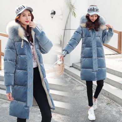 億族 冬季棉服女新款韓版大毛領時尚寬松加厚保暖連帽棉衣過膝bf風外套
