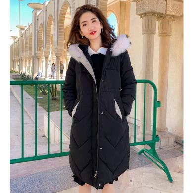 綺娑 加厚保暖棉服女冬季新款個性連帽時尚毛領寬松顯瘦中長款棉衣外套