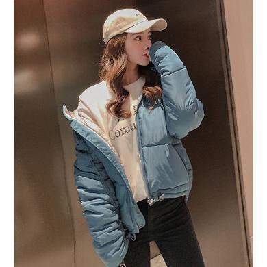 綺娑 冬季新款女裝個性連帽寬松顯瘦短款棉服ins風面包服外套潮