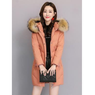 亿族 加厚棉服冬季新款女装时尚毛领中长款棉衣连帽外套修身百搭棉袄