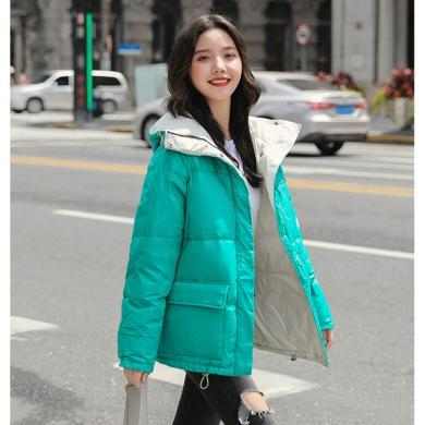 亿族 棉服女冬季新款韩版加厚棉衣大口袋棉袄短款连帽外套百搭面包服