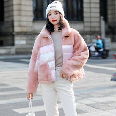 绮娑 棉服女冬季新款羊羔绒拼接棉衣宽松显瘦棉袄ins风外套潮