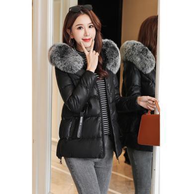 綺娑 冬季新款女裝加厚棉服大毛領棉衣顯瘦棉襖連帽外套時尚穿搭