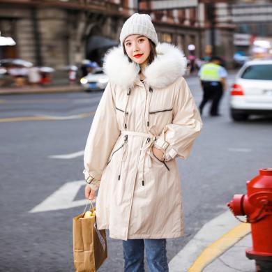 億族 棉衣女冬季新款時尚防風大毛領棉襖寬松收腰棉服外套