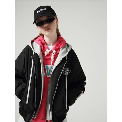 初語秋季新款寬松撞色印花棒球服連帽假兩件短外套棉衣女8930842011